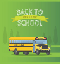 Yellow schoolbus isolated on green background vector