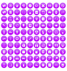 100 college icons set purple vector