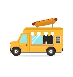 Hot dog van fast food transport vector