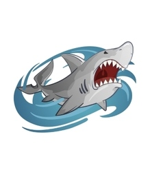 Cartoon of white shark vector