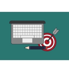 Computer with office and business related icons vector