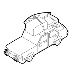 Car with luggage on the roof icon outline style vector