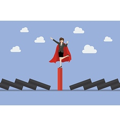 Business woman on unique red domino tile among vector