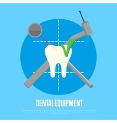 Dental equipment banner with instruments crosswise vector