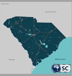 Map of state south carolina usa vector
