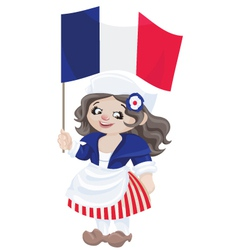 Cute cartoon girl in sans culottes costume vector
