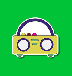 paper sticker on background of tape recorder vector image