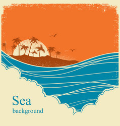 Sea wavesseascape horizon on old vintage poster vector