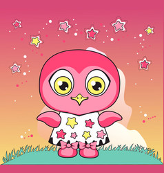 owl in a dress vector image