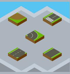 Isometric road set of turn asphalt unilateral vector