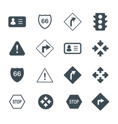 Driving and road signs flat and outline icons set vector