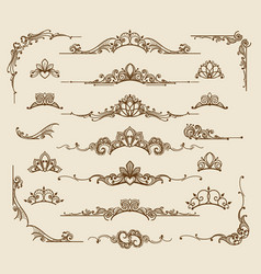 Royal victorian filigree design elements vector