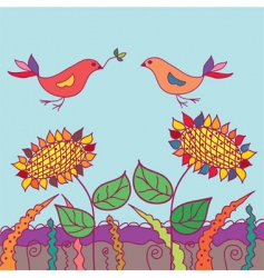 funny card with two birds vector image