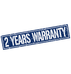 2 years warranty square grunge stamp vector