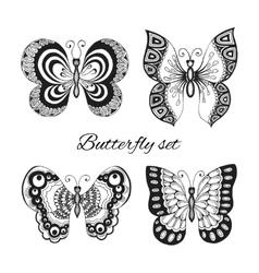 Butterflies decorative icons set vector image
