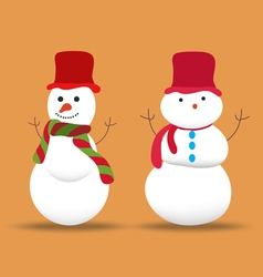 Set of snowmans for christmas design vector