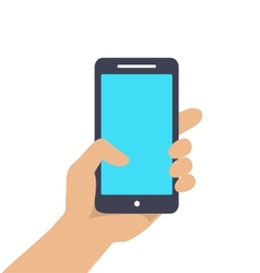 Hand holding smart phone showing screen isolated vector