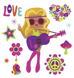 Blonde hippie girl with guitar vector