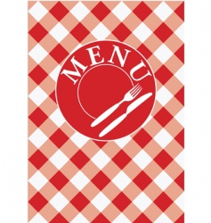 Menu card red gingham vector