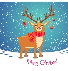 Christmas card with reindeer cute cartoon deer vector