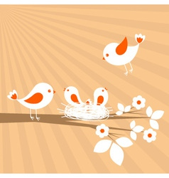 Birds family spring card vector