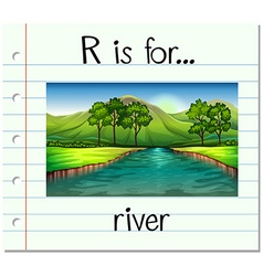 Flashcard letter r is for river vector