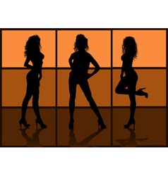 Silhouette of models posing vector