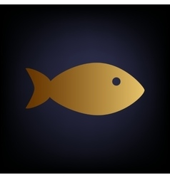 Fish sign golden style icon vector