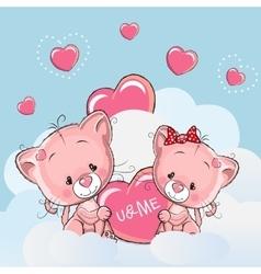 Cute lovers kittens vector