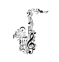 Saxophone figure of notes vector