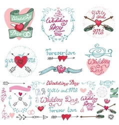 Wedding doodle decor elements setromantic labels vector