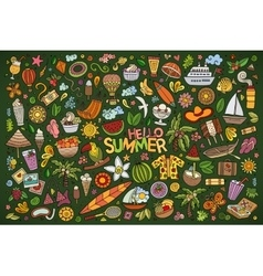 Doodle cartoon set of summer objects and vector