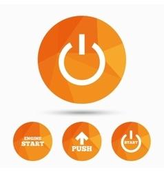 Power icons start engine symbol push arrow vector