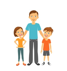 Father with kids happy family father with children vector