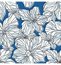 Abstract blue floral seamless pattern vector