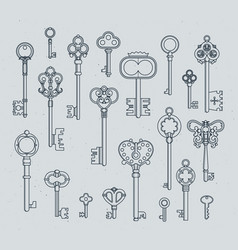 Antique keys set hand drawn medieval vector