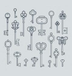 antique keys set hand drawn medieval vector image vector image