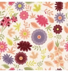 Autumn seamless pattern with flowers and leaves vector image vector image
