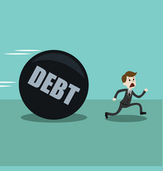 businessman or manager run away from big debt vector image vector image