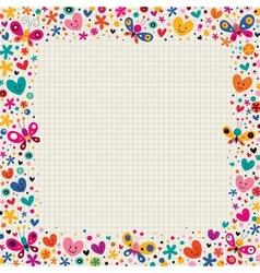 Butterflies hearts border vector