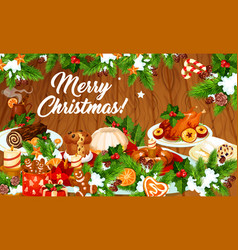 Christmas dinner banner with winter holiday dishes vector