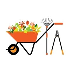 Cleaning leaves tools wheelbarrow vector image