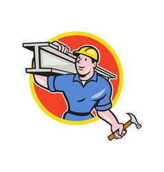 Construction steel worker carry i-beam circle vector