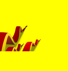 Eight red arrows going up on yellow background vector