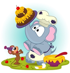 Elephant chef prepare cake for mouse vector