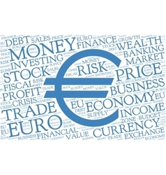 Euro word cloud with symbol of currency vector