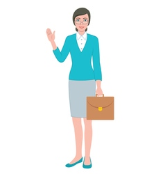 Female teacher with a bag vector image vector image