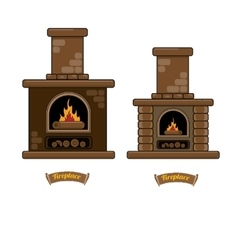 Fireplace icon set isolated on white vector