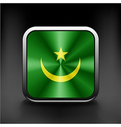Flag of mauritania as round glossy icon vector