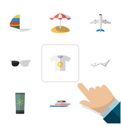 Flat icon beach set of parasol moisturizer vector